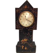 SOLD Antique Chinoiserie Mantel Clock, Gothic Steeple Tower Shape, Working Order, Great Lookin