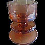 Wedgwood topaz (amber) glass one hoop Sheringham candlestick holder Design by Ronald Stennett