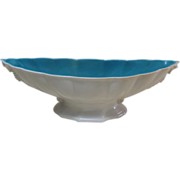 Cowan pottery seahorse console bowl Ca. 1926, Ivory/Blue