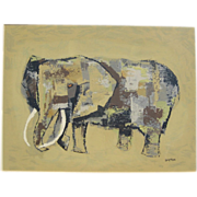 Mid Century Margaret Layton Elephant Lithograph - Original Framed Print 1950s