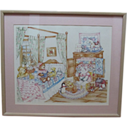 """Vintage Lithograph Debi Hron Titled """" The bears Storytime"""" 587/750 pencil signed 1986!"""