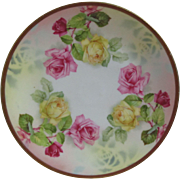 Vintage Prussia Royal Rudolstadt Pink Yellow Rose Decorative Plate measure 8 1/2 inch diameter