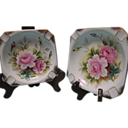 Vintage Lipper and Mann Ashtray  Set of Two Pink Rose Lusterware Made in Japan  Hand ...