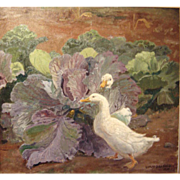 Geese in Cabbage Patch, 1904, Oil on Canvas, 31 x 33 inches