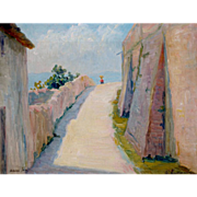 Assisi, Italy, Village Path, 1912 Oil on Canvas, 14 x 16""