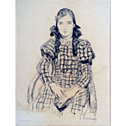 "SALE Pigtails and Plaid, 1933, Charcoal on Paper, 25 x 18"" (image)"