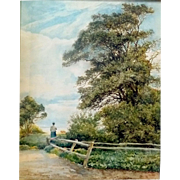 "SALE ""The Meadow Beyond,"" ca 1888, 22 x 16.75,"" (image only)"