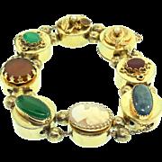 Vintage VICTORIAN REVIVAL Chunky Snake Cameo Glass Stone Ornate Slide Bracelet