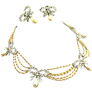 Vintage 1958 Henkel & Grosse CHRISTIAN DIOR Swag Gold Chain Rhinestone Bow Necklace Earrings S