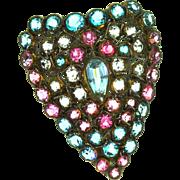 Vintage 1940s HOBE STERLING Aqua Pink Open Back Rhinestone HEART Figural Brooch Pin