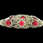 Vtg 1940 Philippe Art Deco Style TRIFARI Ruby Glass Enamel Rhinestone Articulated Bracelet