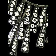 SALE Rare BEN AMUN Modernist Black Resin & Crystal Rhinestone Mad Men RUNWAY Necklace