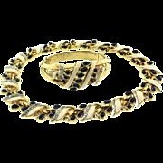 SALE 1940s Rare Philippe TRIFARI Sapphire Cabochon Rhinestone Enamel NECKLACE Choker BRACELET