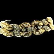 Vtg Philippe CROWN TRIFARI Gold-Plated Pave Rhinestone Swirl BRACELET