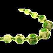 "SALE Vtg Venetian Italian Murano GREEN Foil Glass Graduating 18"" BEAD Necklace"