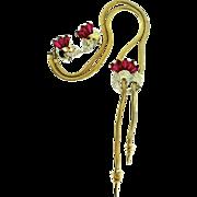 1950s BOUCHER Fuchsia Coffin Rhinestone Snake Chain Lariat Necklace & Earrings