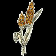 "1940 TRIFARI Philippe Sterling Topaz Rhinestone Double Flower 4.25"" Brooch Pin"