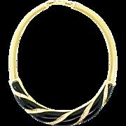 Vtg CHRISTIAN DIOR Heavy Wide Gold-plated Black Enamel & Rhinestone NECKLACE