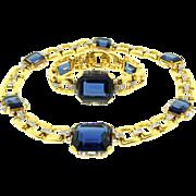 REDUCED Vtg 1940s KTF TRIFARI Philippe Art Deco Style Sapphire Glass Rhinestone Necklace ...