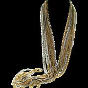 SALE Vtg 1972 CHRISTIAN DIOR 2-Tone Multi-Chain X-Long Necklace & Wide Bracelet SET