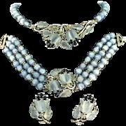 Vtg TRIFARI Lilies & Sapphires Tulips Fruit Salad Necklace Bracelet & Earrings PARURE