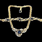 Philippe TRIFARI Sapphire Drop Flowerette Rhinestone Enamel NECKLACE & BRACELET