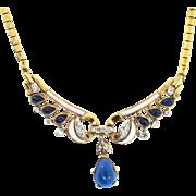 Philippe TRIFARI Sapphire Cabochon Drop Enamel Rhinestone Goldplated Necklace