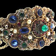 Vtg ART DECO Victorian Czech Brass Filigree Enamel Hinged Wide Cuff BRACELET
