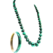 Vintage Hand Carved Genuine MALACHITE Graduated Bead Necklace and Bangle Bracelet