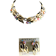 Vintage GIVENCHY Glass Faux Opal Rhinestone Statement Choker NECKLACE and EARRINGS Set