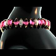 Vtg Philippe TRIFARI Pink Glass Cabochon Fx Pearl Goldplated BRACELET
