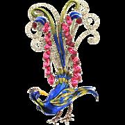 SALE 1940 CORO Rhinestone Enamel Figural PEACOCK Preening Bird of Paradise Brooch Pin