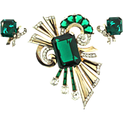 MAZER Deco Style Sterling Huge Emerald Green Glass Rhinestone BROOCH PIN and EARRINGS