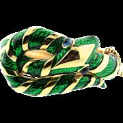 Vtg TRIFARI Garden of Eden Emerald Green Enamel SNAKE Hinged Clamper BRACELET
