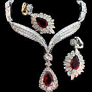 Vtg 1960s MARCEL BOUCHER Ruby Red Teardrop Rhinestone Necklace & Earrings