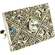 Vtg 1920s Sterling FRENCH Art Deco Sapphire Paste Rhinestone Milgrain Brooch Pin