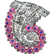 1930s Philippe TRIFARI Art Deco Pink Shoebutton Rhinestone FUR CLIP Brooch Pin