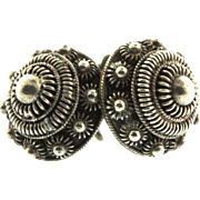 Antique Vtg Early 1900s China CHINESE Export Silver Filigree Screwback EARRINGS
