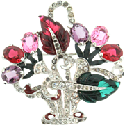 Vtg MAZER Flower Basket Figural Fruit Salad Glass Enamel Rhinestone Brooch Pin