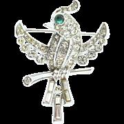 Vintage TRIFARI Philippe BIRD ON A BRANCH Pave Rhinestone Figural Brooch Pin