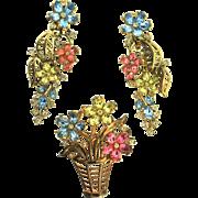 Vintage TRIFARI Fragonard Rhinestone Floral Flower Basket Figural Pin XLong Earrings
