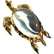 Vintage TRIFARI Jelly Belly Sterling Rhinestone TURTLE Figural Brooch Pin BOOK PIECE