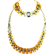 RARE Vintage Philippe TRIFARI Art Deco Ombre Glass Rhinestone Necklace Bracelet SET