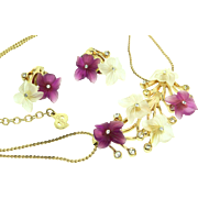 Vintage Germany CHRISTIAN DIOR Lucite Flower Rhinestone Necklace & Earrings Set