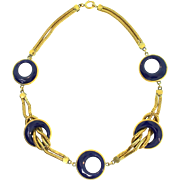 Antique 1920s H&H Hamilton & Hamilton Sterling Art Deco Victorian Snake Chain Blue Glass ...