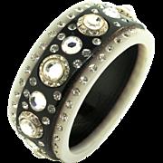 Vintage Estate ITALIAN RESIN Designer High-End Two-Tone Rhinestone BANGLE Bracelet