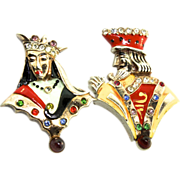 1940s Slater URIE MANDLE King & Queen Sterling Enamel Rhinestone Brooches Pins