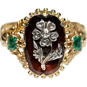 Antique Georgian 18 carat yellow gold Hessonite garnet Emerald and Diamond flower ring - circa