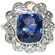 Vintage Platinum Natural Sapphire and old cut diamond cluster ring - sapphire estimated at 5.3