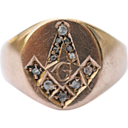 Masonic 9 carat rose gold diamond signet ring - hallmarked Birmingham, England 1918